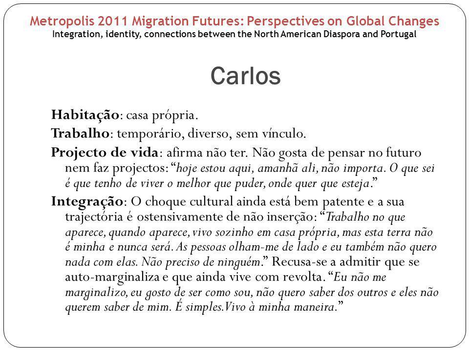 Carlos Habitação: casa própria. Trabalho: temporário, diverso, sem vínculo.