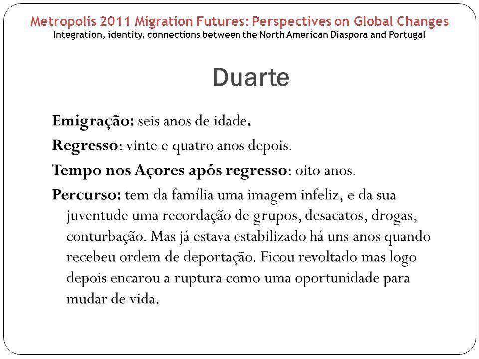 Duarte Emigração: seis anos de idade. Regresso: vinte e quatro anos depois.