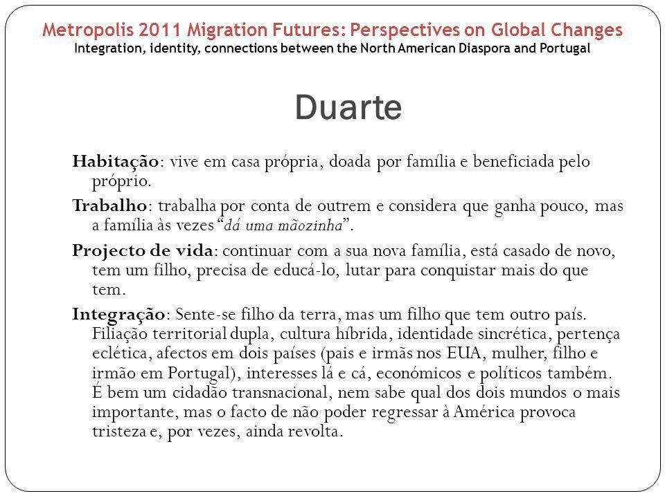 Duarte Habitação: vive em casa própria, doada por família e beneficiada pelo próprio.