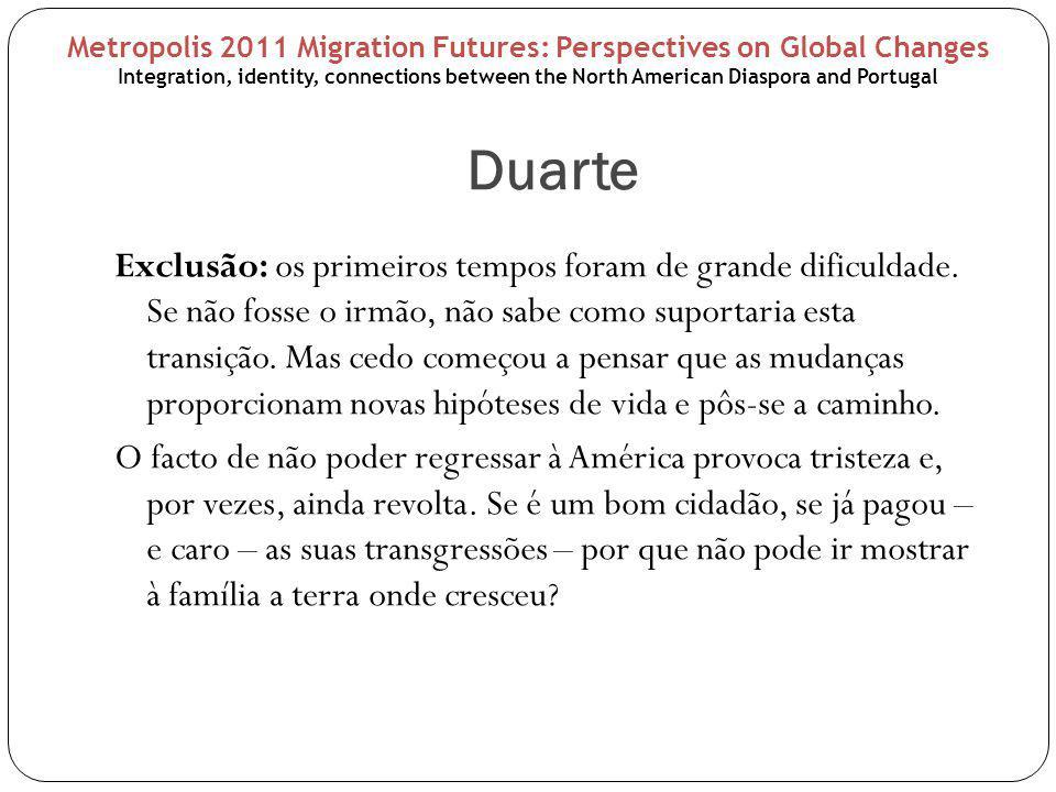 Duarte Exclusão: os primeiros tempos foram de grande dificuldade.