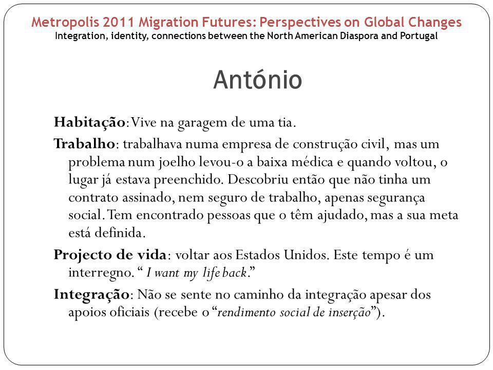 António Exclusão: penso como um americano ; não sei falar bem português e poucas pessoas querem falar comigo em inglês das coisas que me interessam. ; sinto-me estranho : as pessoas olham-no como se ele não pertencesse a esta terra; ele próprio sente que não pertence: sou americano .