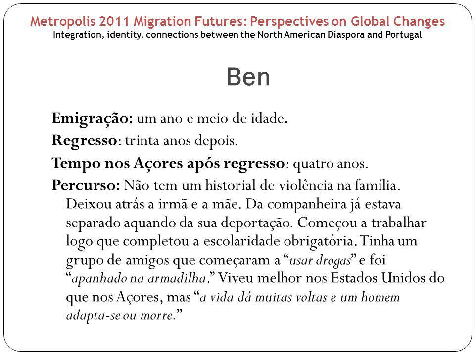 Ben Emigração: um ano e meio de idade. Regresso: trinta anos depois. Tempo nos Açores após regresso: quatro anos. Percurso: Não tem um historial de vi