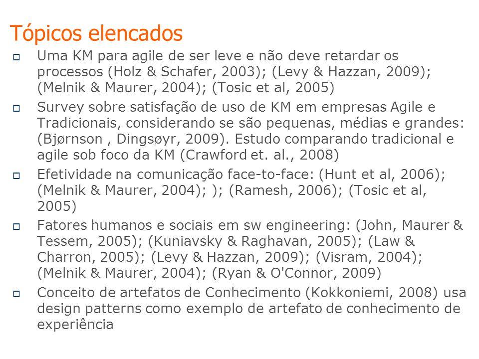 Tópicos elencados  Uma KM para agile de ser leve e não deve retardar os processos (Holz & Schafer, 2003); (Levy & Hazzan, 2009); (Melnik & Maurer, 2004); (Tosic et al, 2005)  Survey sobre satisfação de uso de KM em empresas Agile e Tradicionais, considerando se são pequenas, médias e grandes: (Bjørnson, Dingsøyr, 2009).