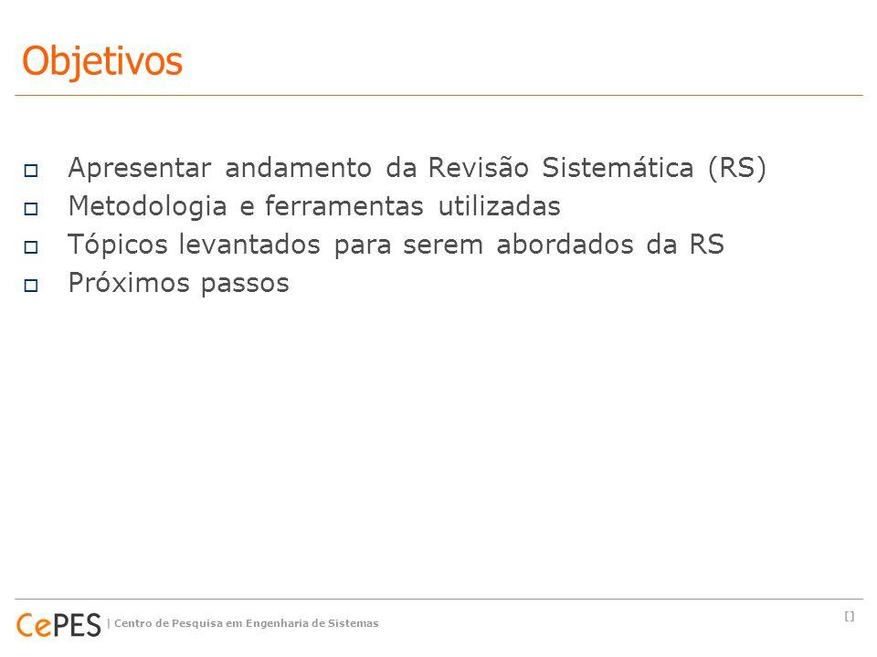  Apresentar andamento da Revisão Sistemática (RS)  Metodologia e ferramentas utilizadas  Tópicos levantados para serem abordados da RS  Próximos p