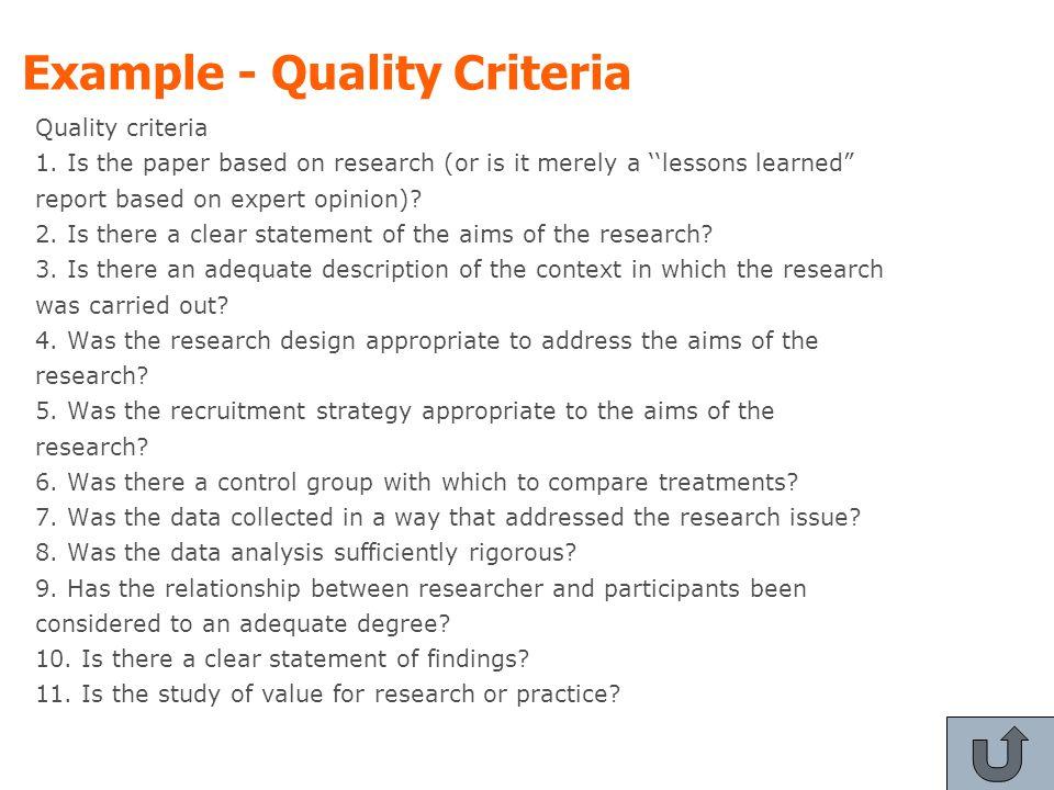 Example - Quality Criteria Quality criteria 1.