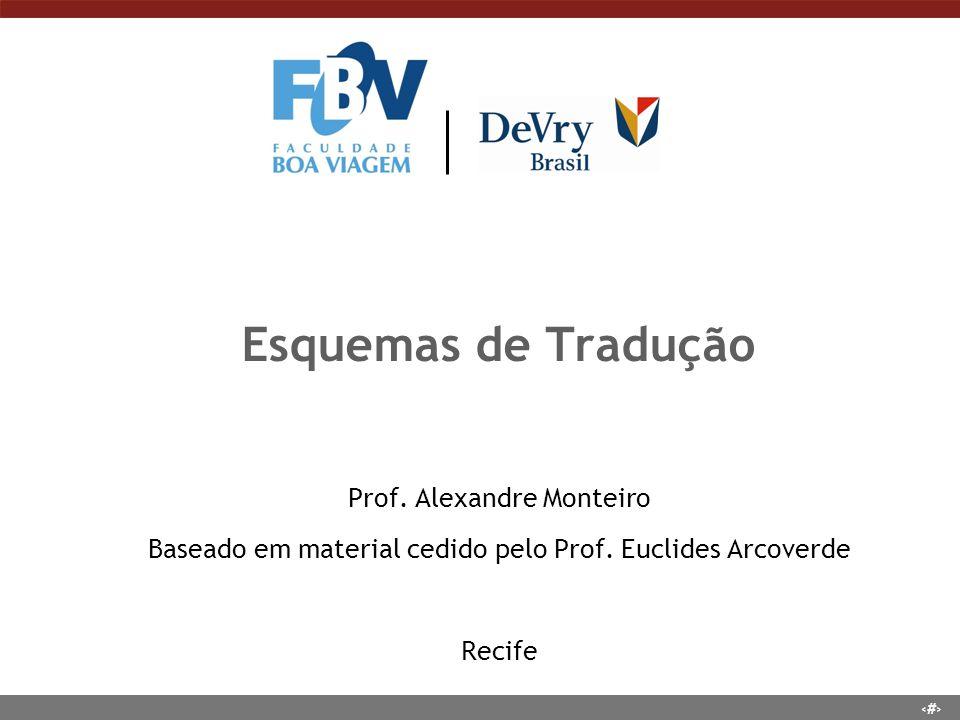 1 Esquemas de Tradução Prof. Alexandre Monteiro Baseado em material cedido pelo Prof. Euclides Arcoverde Recife