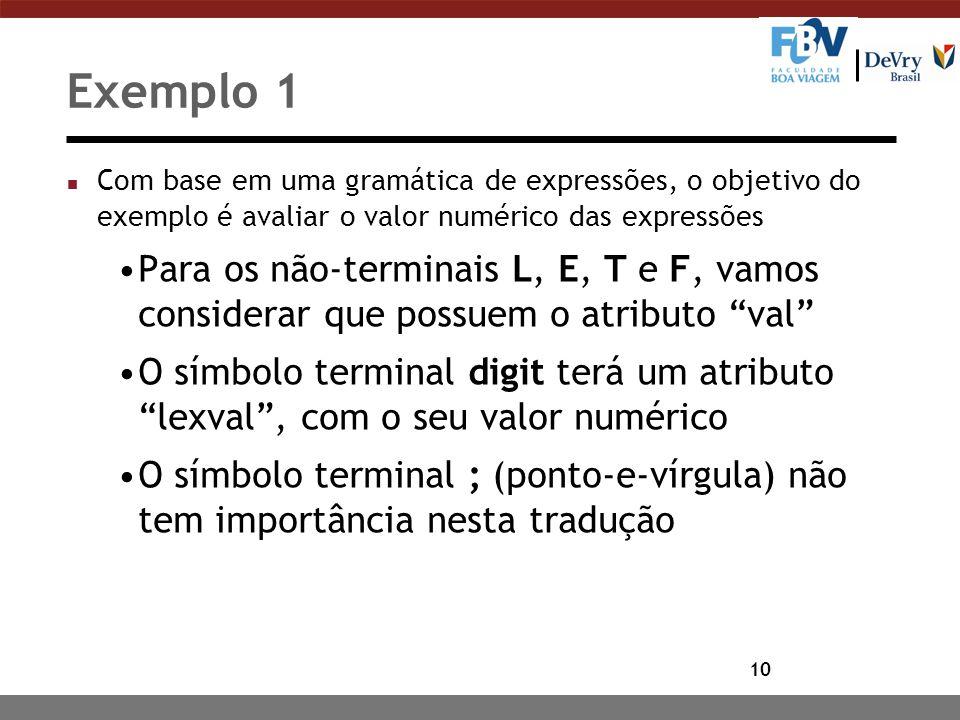 10 Exemplo 1 n Com base em uma gramática de expressões, o objetivo do exemplo é avaliar o valor numérico das expressões Para os não-terminais L, E, T