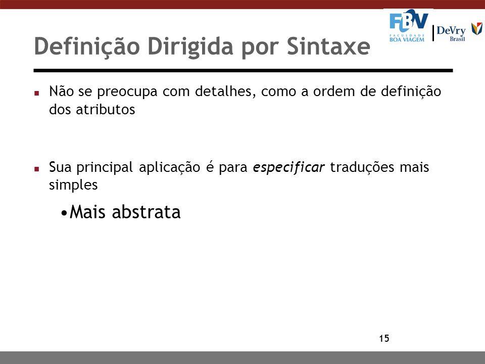 15 Definição Dirigida por Sintaxe n Não se preocupa com detalhes, como a ordem de definição dos atributos n Sua principal aplicação é para especificar