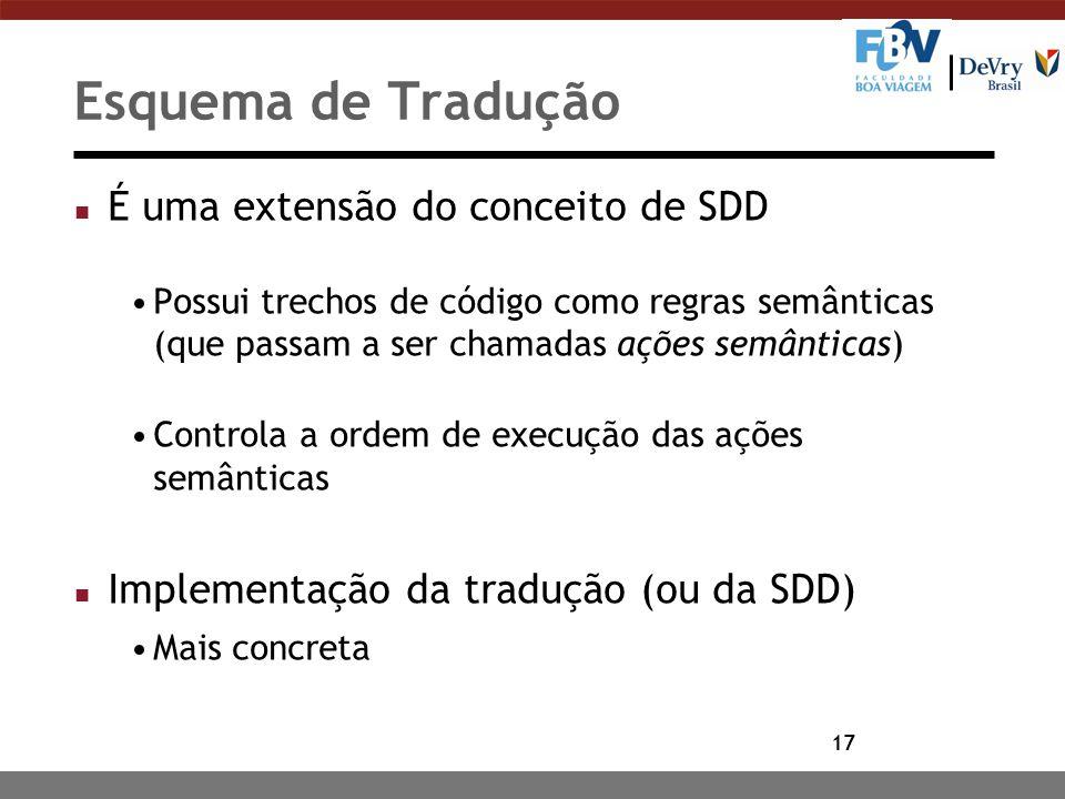 17 Esquema de Tradução n É uma extensão do conceito de SDD Possui trechos de código como regras semânticas (que passam a ser chamadas ações semânticas