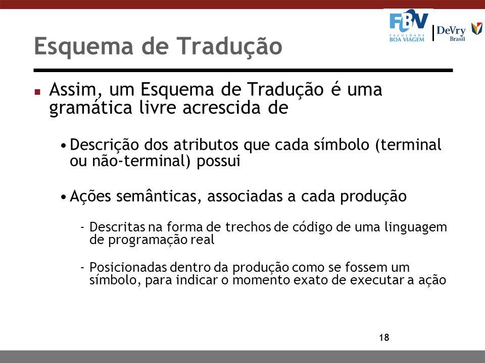 18 Esquema de Tradução n Assim, um Esquema de Tradução é uma gramática livre acrescida de Descrição dos atributos que cada símbolo (terminal ou não-te