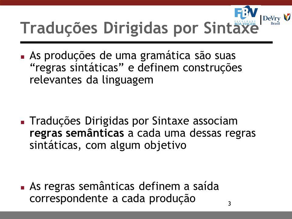 """3 Traduções Dirigidas por Sintaxe n As produções de uma gramática são suas """"regras sintáticas"""" e definem construções relevantes da linguagem n Traduçõ"""