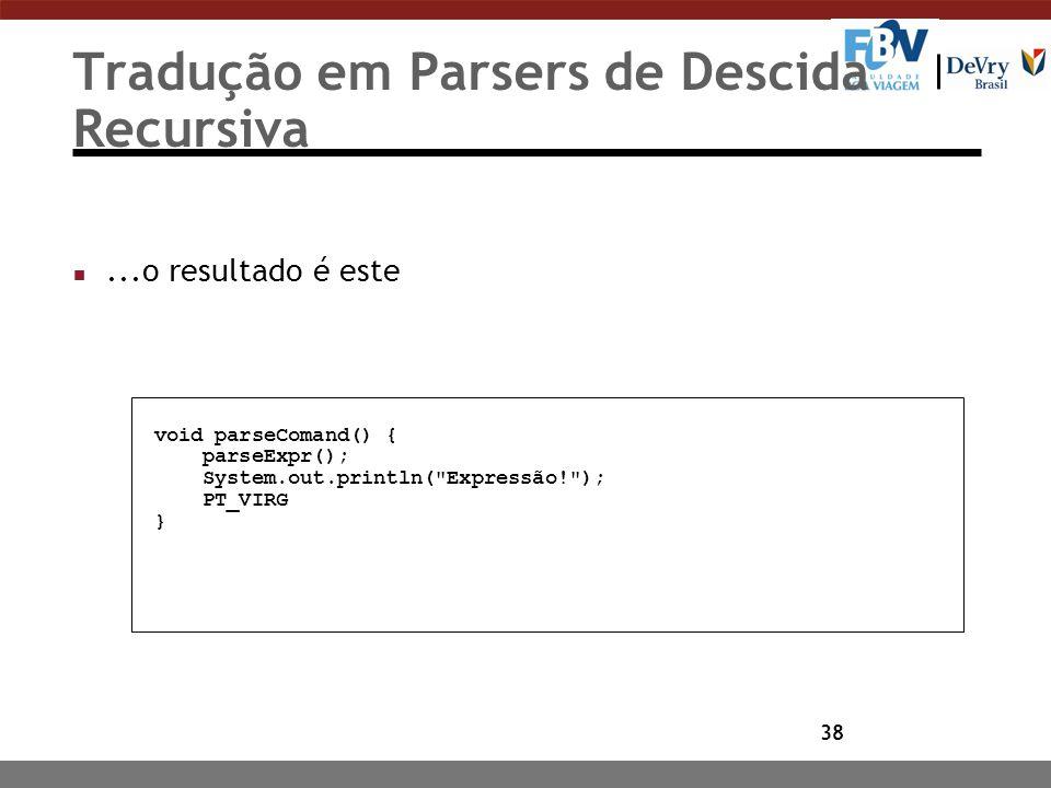 38 Tradução em Parsers de Descida Recursiva n...o resultado é este void parseComand() { parseExpr(); System.out.println(