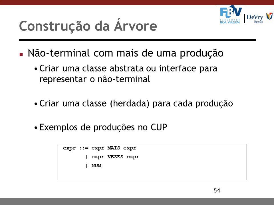 54 Construção da Árvore n Não-terminal com mais de uma produção Criar uma classe abstrata ou interface para representar o não-terminal Criar uma class