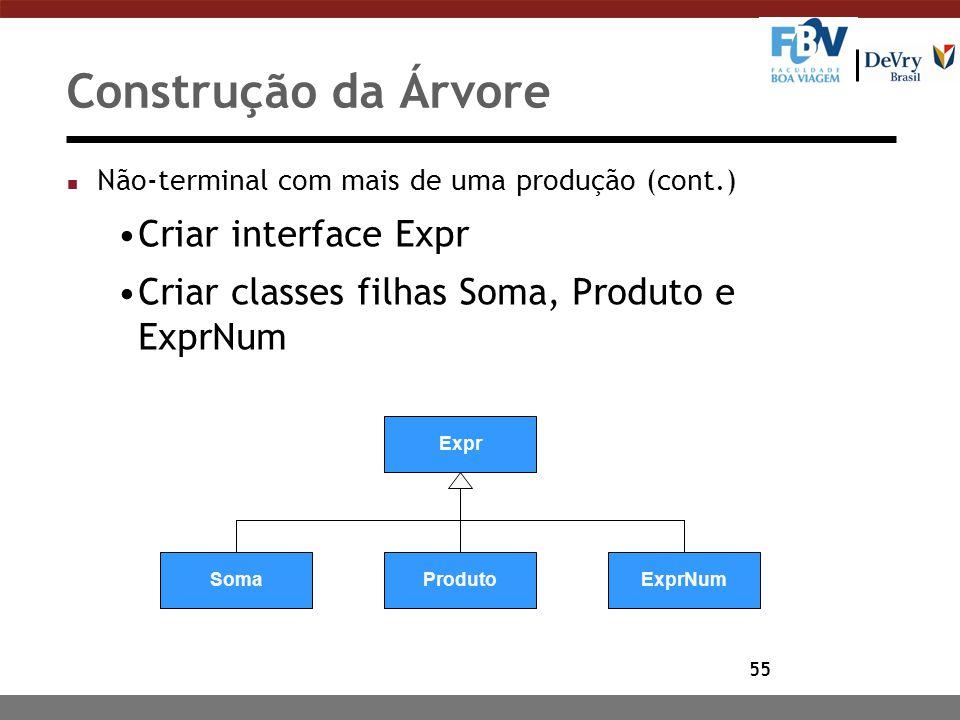 55 Construção da Árvore n Não-terminal com mais de uma produção (cont.) Criar interface Expr Criar classes filhas Soma, Produto e ExprNum Expr SomaPro