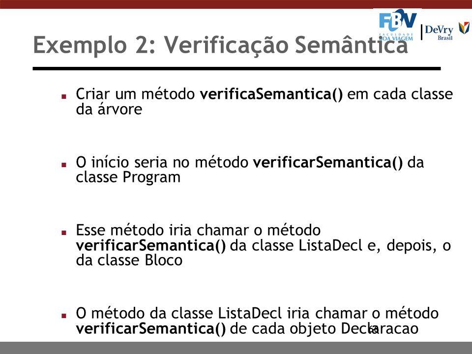 66 Exemplo 2: Verificação Semântica n Criar um método verificaSemantica() em cada classe da árvore n O início seria no método verificarSemantica() da