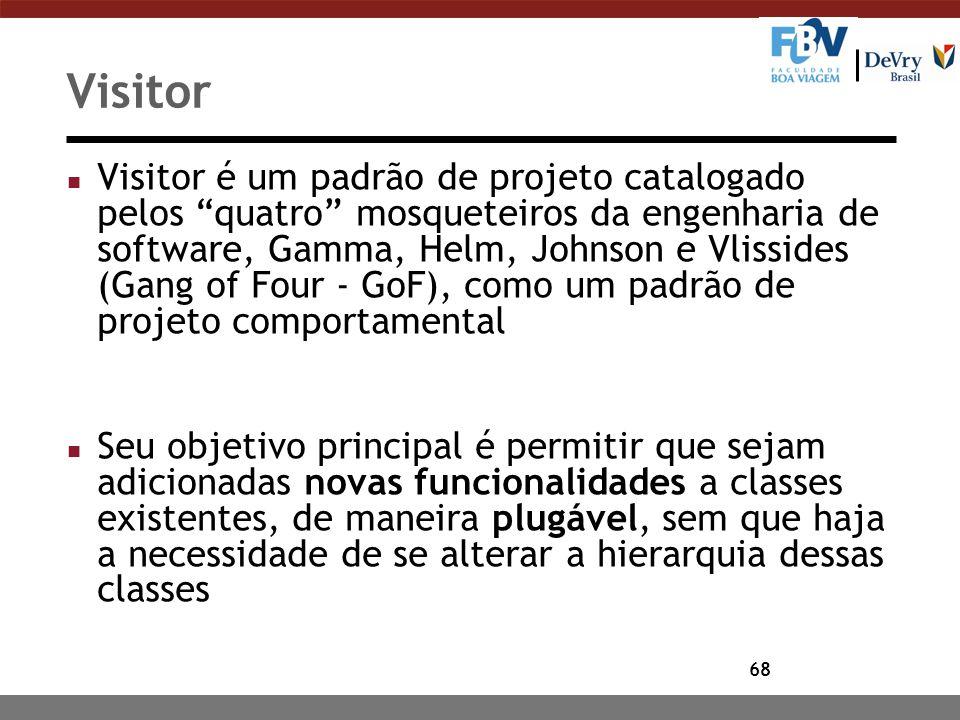 """68 Visitor n Visitor é um padrão de projeto catalogado pelos """"quatro"""" mosqueteiros da engenharia de software, Gamma, Helm, Johnson e Vlissides (Gang o"""