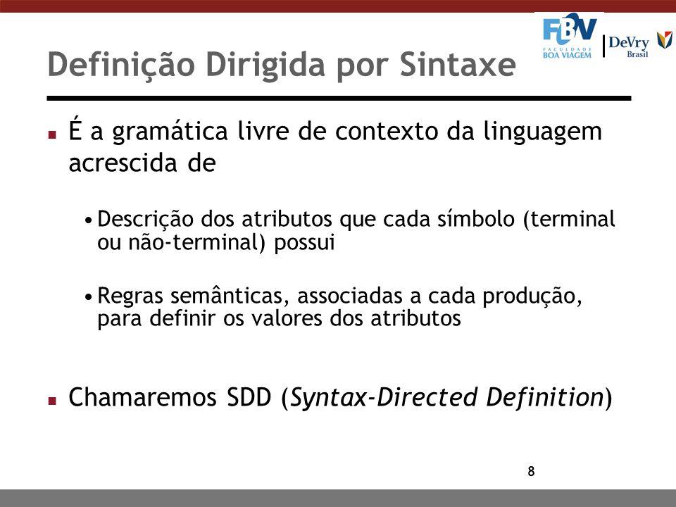 8 n É a gramática livre de contexto da linguagem acrescida de Descrição dos atributos que cada símbolo (terminal ou não-terminal) possui Regras semânt