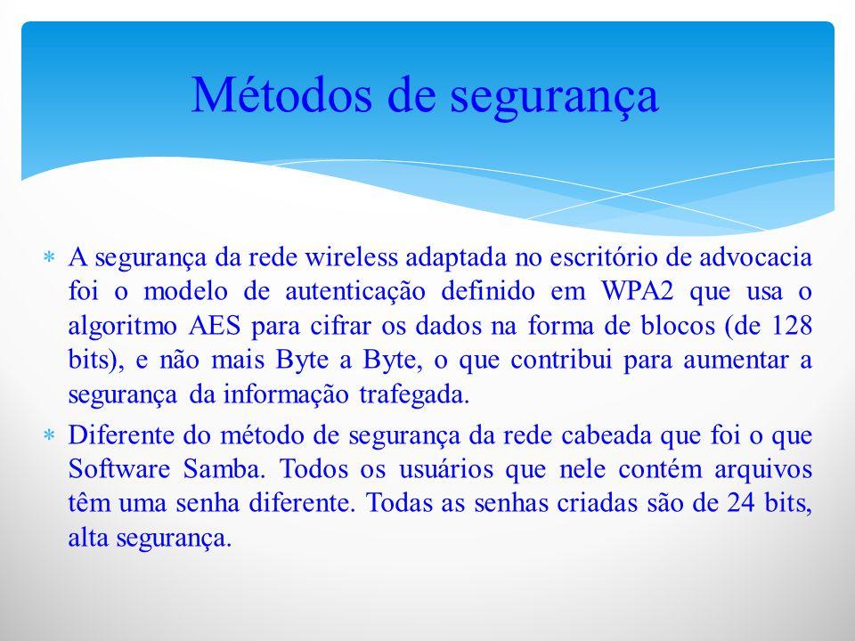  A segurança da rede wireless adaptada no escritório de advocacia foi o modelo de autenticação definido em WPA2 que usa o algoritmo AES para cifrar os dados na forma de blocos (de 128 bits), e não mais Byte a Byte, o que contribui para aumentar a segurança da informação trafegada.