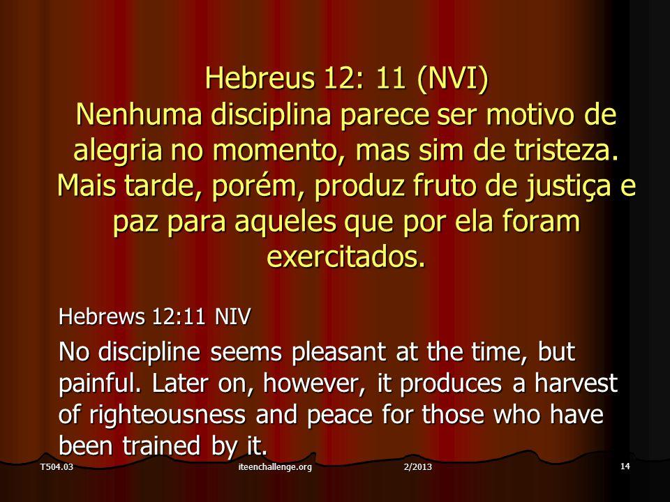 14 T504.03 Hebreus 12: 11 (NVI) Nenhuma disciplina parece ser motivo de alegria no momento, mas sim de tristeza.