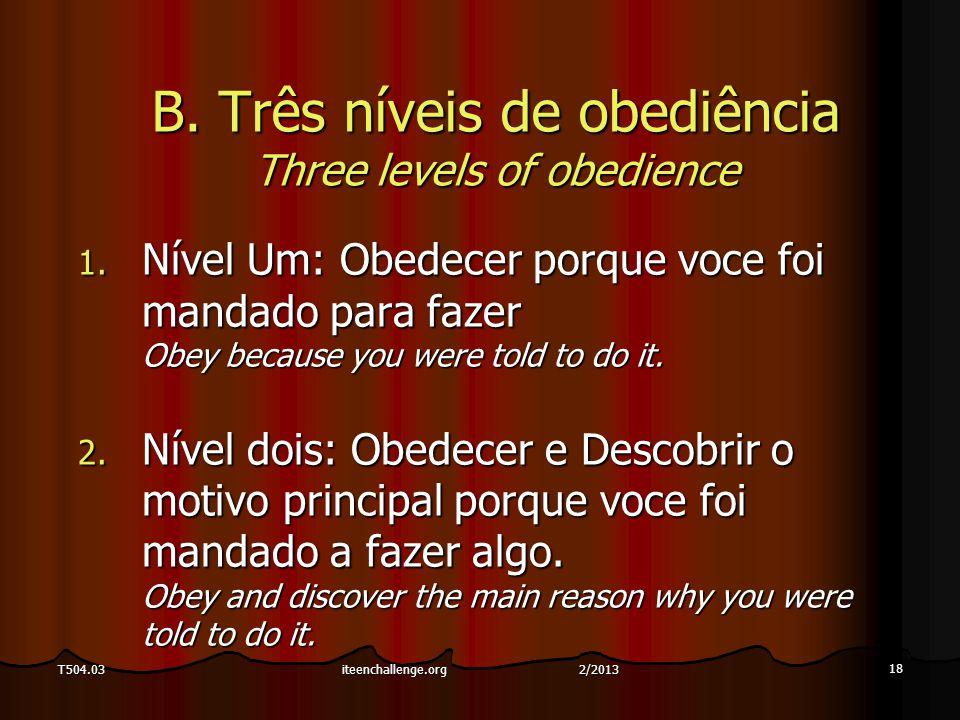 18 T504.03 B. Três níveis de obediência Three levels of obedience 1. Nível Um: Obedecer porque voce foi mandado para fazer Obey because you were told