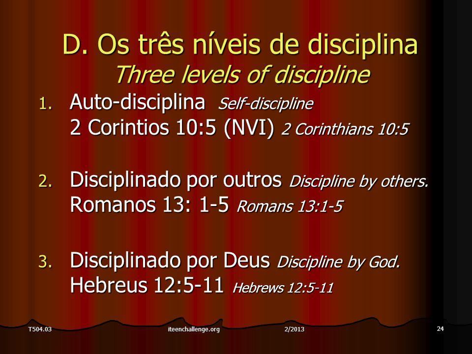 24 T504.03 D. Os três níveis de disciplina Three levels of discipline 1. Auto-disciplina Self-discipline 2 Corintios 10:5 (NVI) 2 Corinthians 10:5 2.