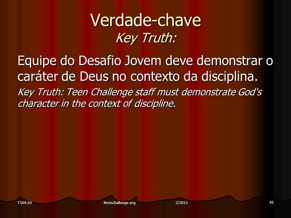 Verdade-chave Key Truth: Equipe do Desafio Jovem deve demonstrar o caráter de Deus no contexto da disciplina. Key Truth: Teen Challenge staff must dem