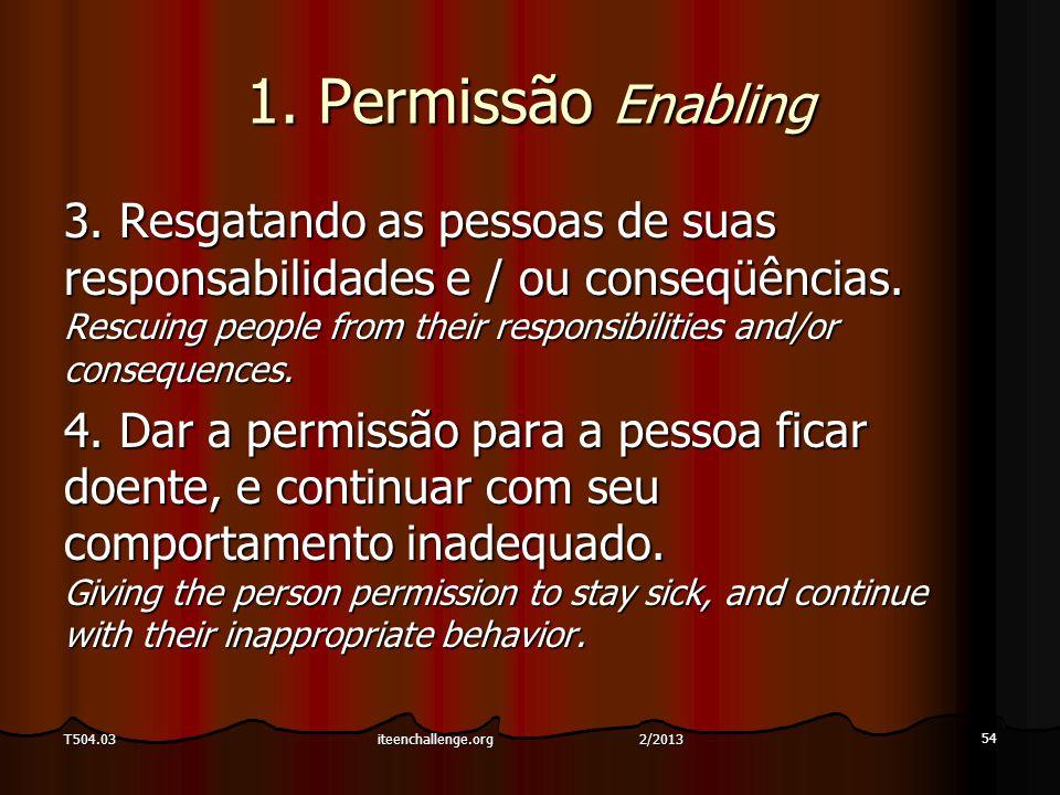 1. Permissão Enabling 3. Resgatando as pessoas de suas responsabilidades e / ou conseqüências. Rescuing people from their responsibilities and/or cons
