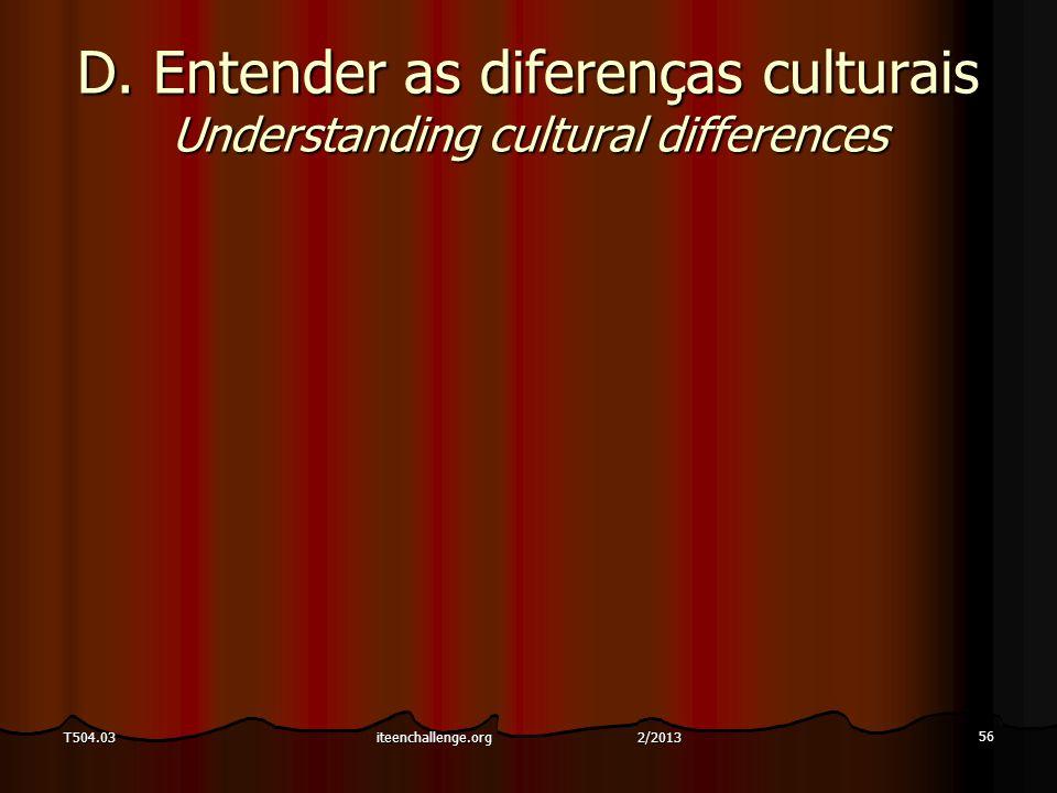 D. Entender as diferenças culturais Understanding cultural differences 56 T504.03iteenchallenge.org 2/2013