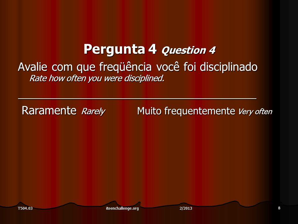 Pergunta 5 Question 5 Com que freqüência as pessoas estavam iradas no momento em que estavam disciplinando você.