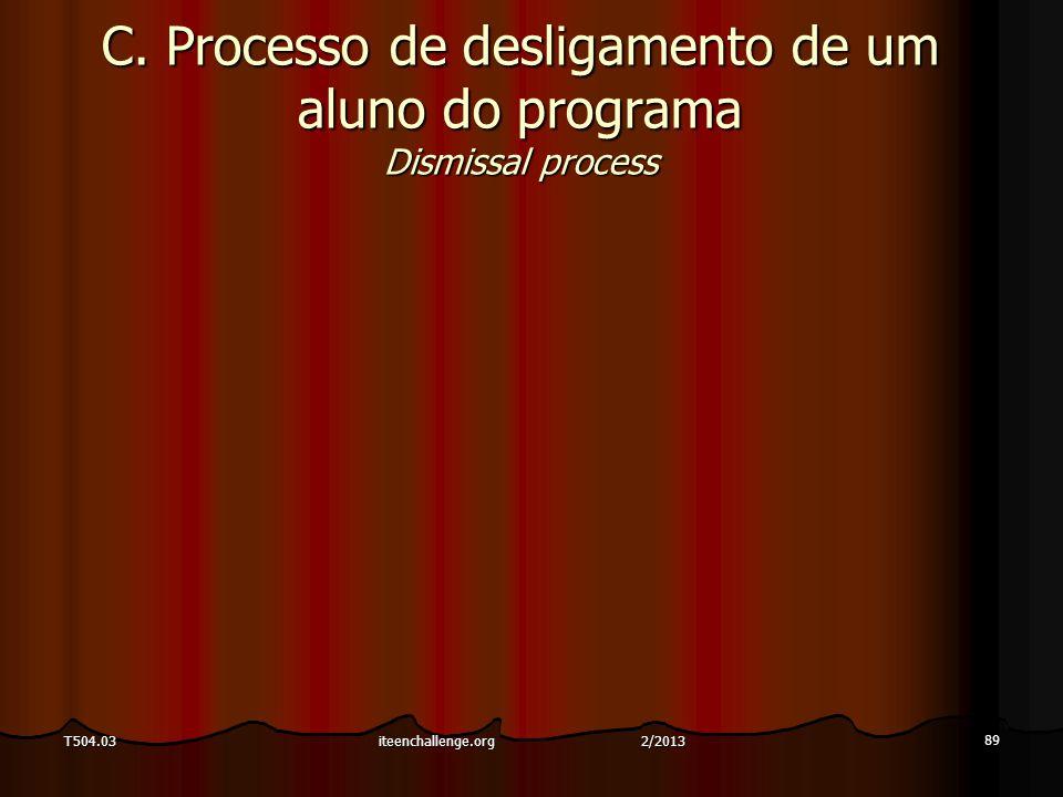 C. Processo de desligamento de um aluno do programa Dismissal process 89 T504.03iteenchallenge.org 2/2013