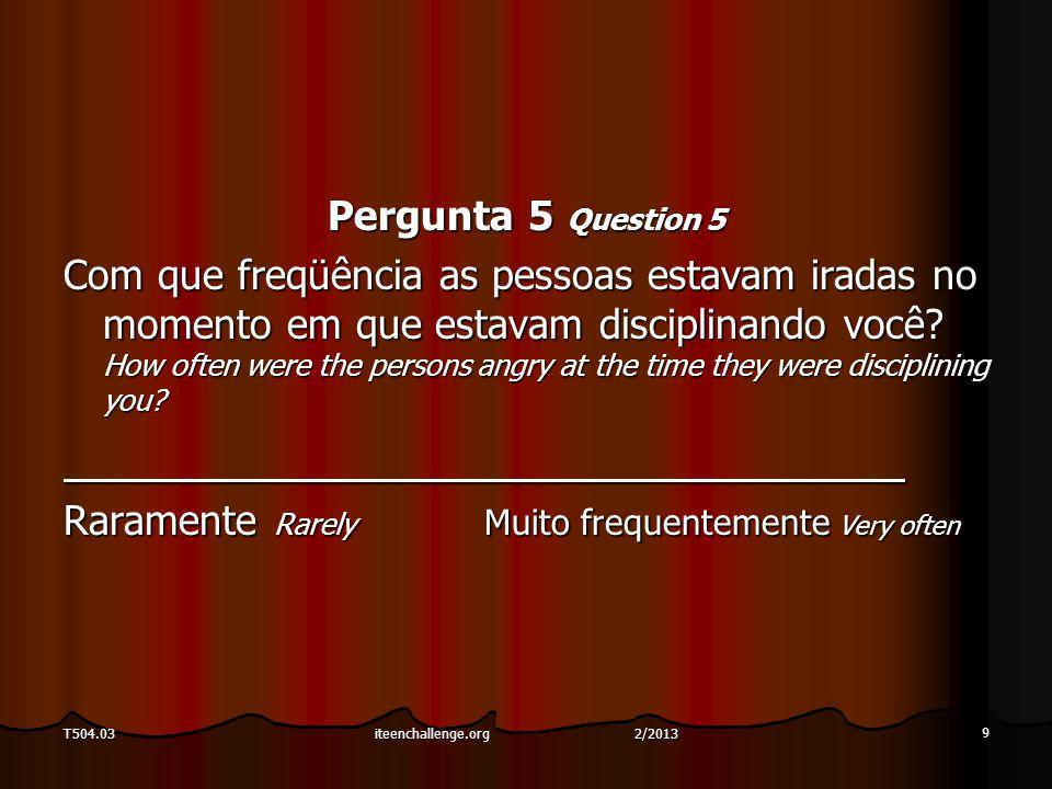 Pergunta 5 Question 5 Com que freqüência as pessoas estavam iradas no momento em que estavam disciplinando você? How often were the persons angry at t