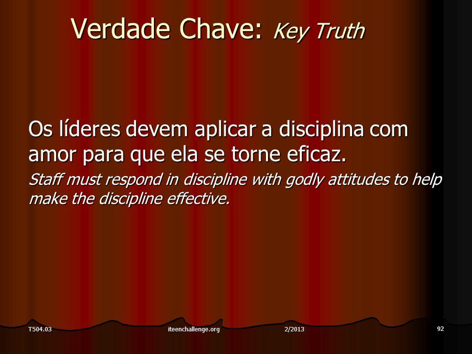Verdade Chave: Key Truth Os líderes devem aplicar a disciplina com amor para que ela se torne eficaz. Staff must respond in discipline with godly atti