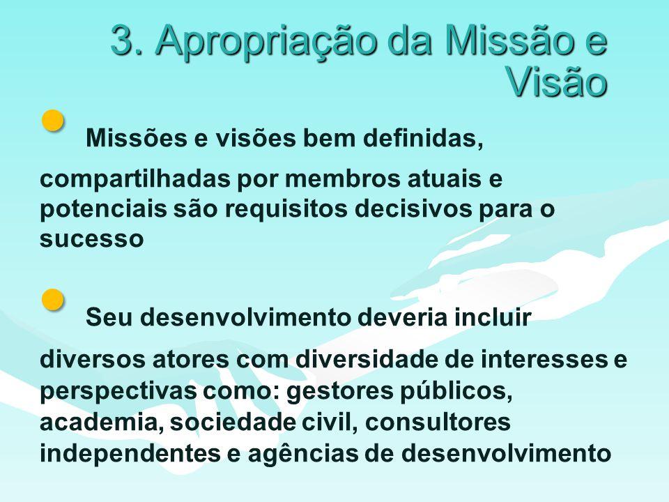 3. Apropriação da Missão e Visão Missões e visões bem definidas, compartilhadas por membros atuais e potenciais são requisitos decisivos para o sucess