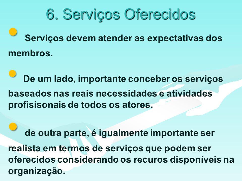 6. Serviços Oferecidos Serviços devem atender as expectativas dos membros.