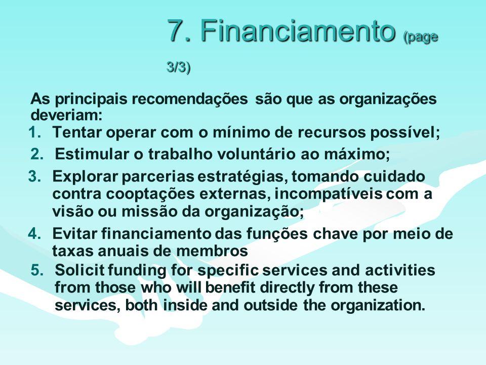 7. Financiamento (page 3/3) As principais recomendações são que as organizações deveriam: 1.