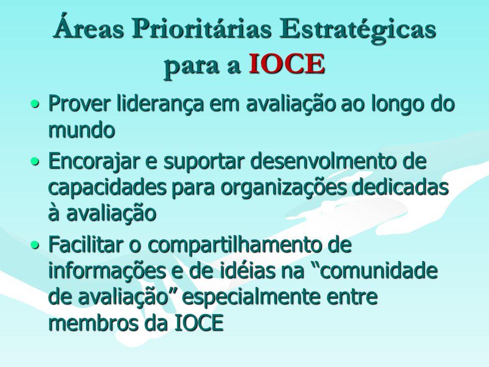 Áreas Prioritárias Estratégicas para a IOCE Prover liderança em avaliação ao longo do mundoProver liderança em avaliação ao longo do mundo Encorajar e suportar desenvolmento de capacidades para organizações dedicadas à avaliaçãoEncorajar e suportar desenvolmento de capacidades para organizações dedicadas à avaliação Facilitar o compartilhamento de informações e de idéias na comunidade de avaliação especialmente entre membros da IOCEFacilitar o compartilhamento de informações e de idéias na comunidade de avaliação especialmente entre membros da IOCE