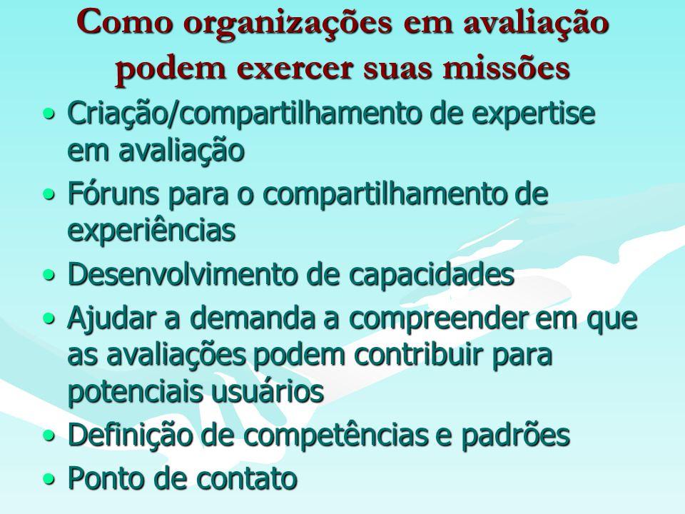 Como organizações em avaliação podem exercer suas missões Criação/compartilhamento de expertise em avaliaçãoCriação/compartilhamento de expertise em avaliação Fóruns para o compartilhamento de experiênciasFóruns para o compartilhamento de experiências Desenvolvimento de capacidadesDesenvolvimento de capacidades Ajudar a demanda a compreender em que as avaliações podem contribuir para potenciais usuáriosAjudar a demanda a compreender em que as avaliações podem contribuir para potenciais usuários Definição de competências e padrõesDefinição de competências e padrões Ponto de contatoPonto de contato
