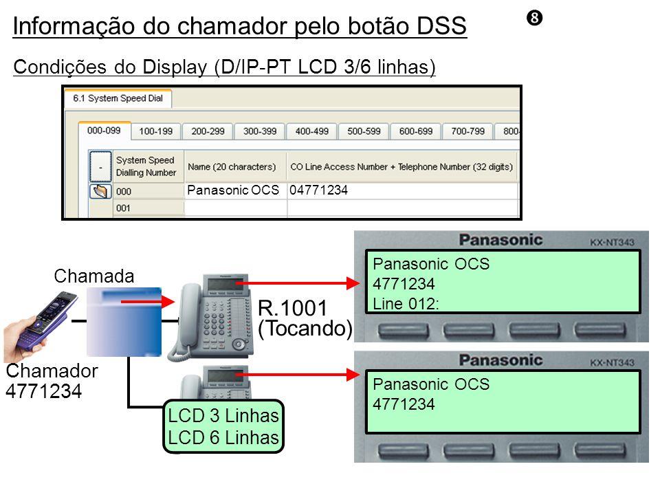 R.1001 (Tocando) Chamada Panasonic OCS 4771234 Chamador 4771234 Condições do Display (D/IP-PT LCD 3/6 linhas) LCD 3 Linhas LCD 6 Linhas Panasonic OCS 4771234 Line 012: 04771234Panasonic OCS Informação do chamador pelo botão DSS