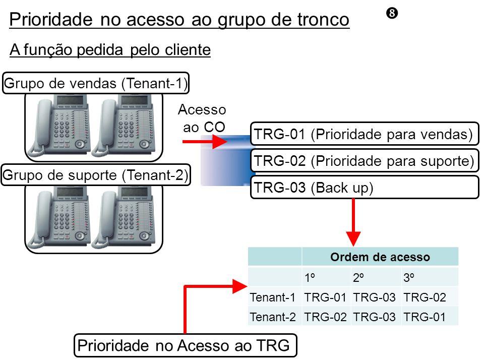 Prioridade no acesso ao grupo de tronco A função pedida pelo cliente Grupo de vendas (Tenant-1) Grupo de suporte (Tenant-2) TRG-03 (Back up) TRG-01 (Prioridade para vendas) TRG-02 (Prioridade para suporte) Ordem de acesso 1º2º3º Tenant-1TRG-01TRG-03TRG-02 Tenant-2TRG-02TRG-03TRG-01 Acesso ao CO Prioridade no Acesso ao TRG