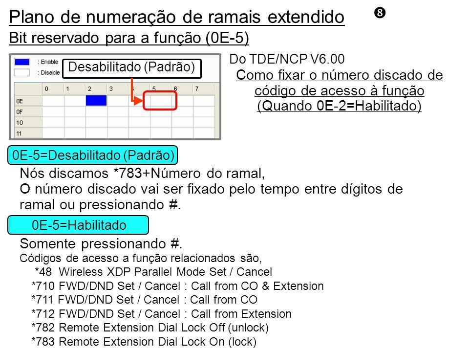 Bit reservado para a função (0E-5) Do TDE/NCP V6.00 If Enable Default (Disable) Desabilitado (Padrão) Como fixar o número discado de código de acesso à função (Quando 0E-2=Habilitado) 0E-5=Habilitado 0E-5=Desabilitado (Padrão) Códigos de acesso a função relacionados são, *48 Wireless XDP Parallel Mode Set / Cancel *710 FWD/DND Set / Cancel : Call from CO & Extension *711 FWD/DND Set / Cancel : Call from CO *712 FWD/DND Set / Cancel : Call from Extension *782 Remote Extension Dial Lock Off (unlock) *783 Remote Extension Dial Lock On (lock) Nós discamos *783+Número do ramal, O número discado vai ser fixado pelo tempo entre dígitos de ramal ou pressionando #.