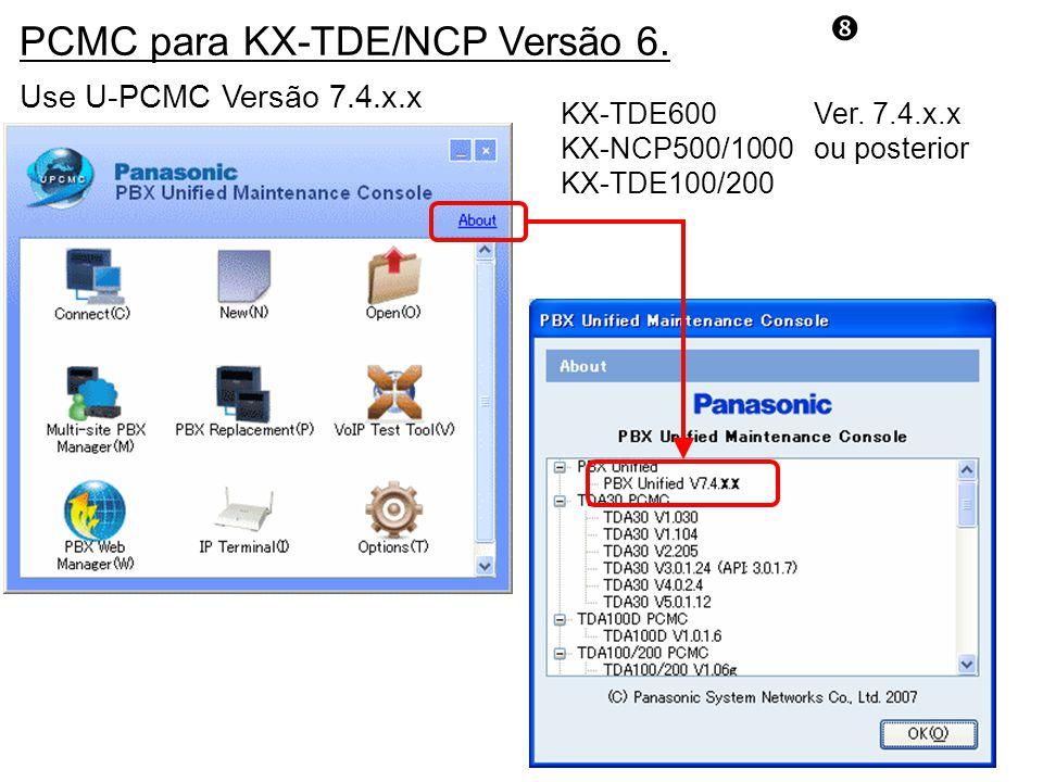PCMC para KX-TDE/NCP Versão 6.Use U-PCMC Versão 7.4.x.x KX-TDE600 Ver.