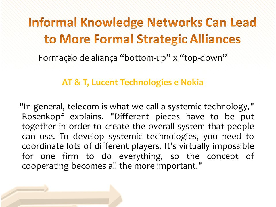 Formação de aliança bottom-up x top-down AT & T, Lucent Technologies e Nokia In general, telecom is what we call a systemic technology, Rosenkopf explains.