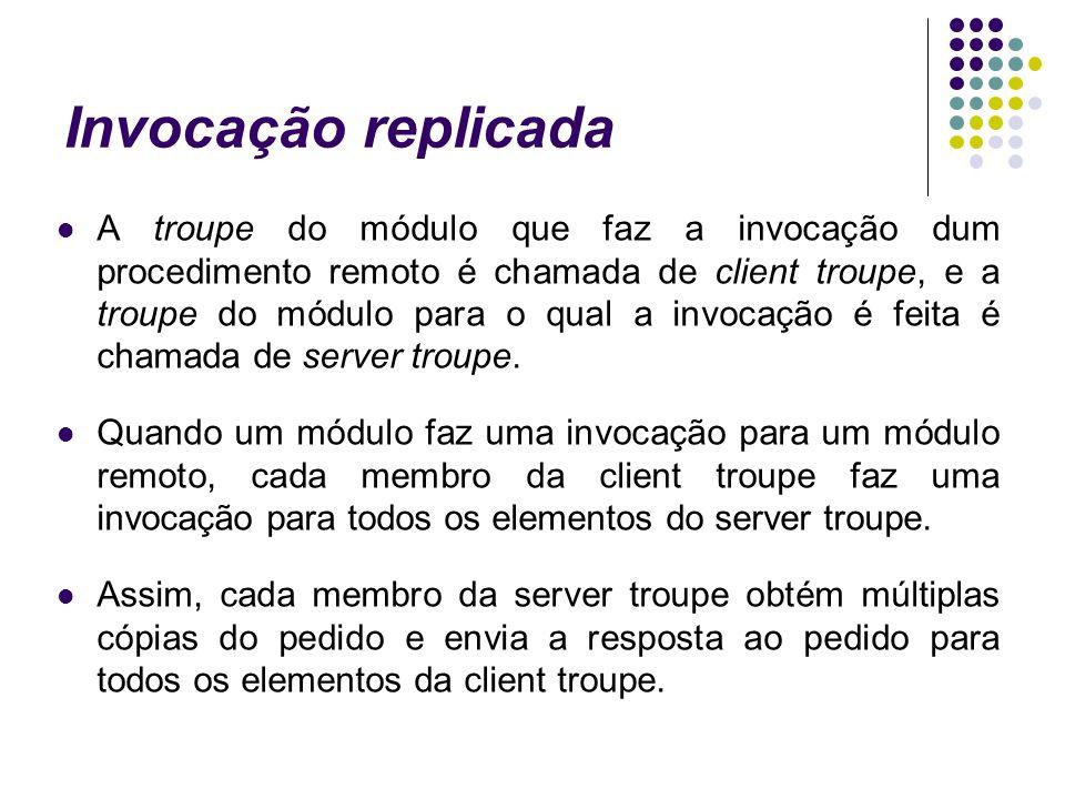 Invocação replicada A troupe do módulo que faz a invocação dum procedimento remoto é chamada de client troupe, e a troupe do módulo para o qual a invocação é feita é chamada de server troupe.