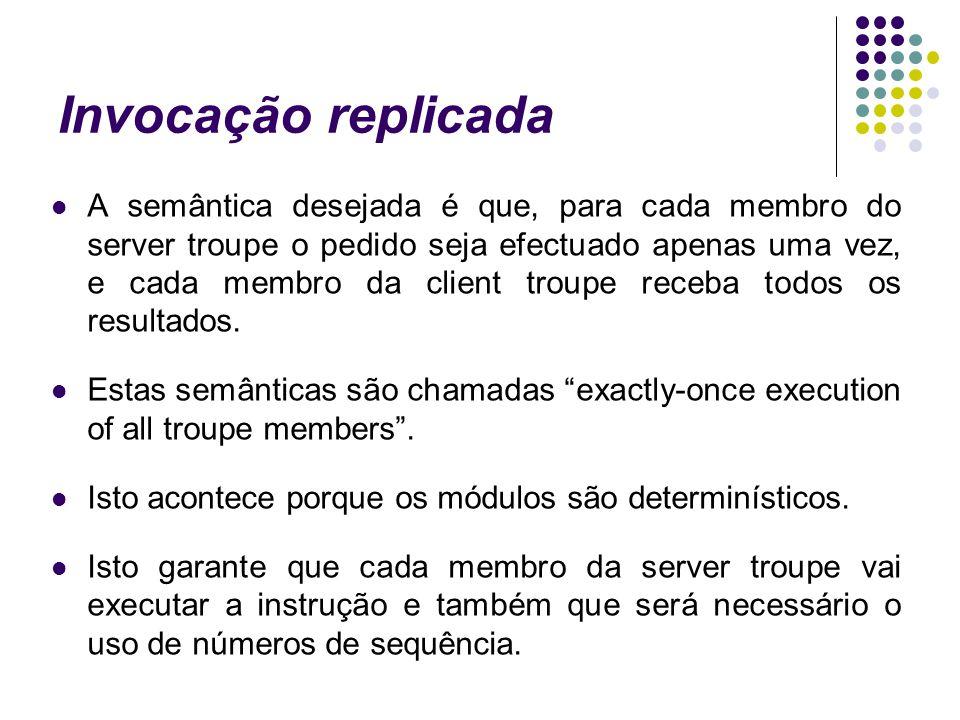 Invocação replicada A semântica desejada é que, para cada membro do server troupe o pedido seja efectuado apenas uma vez, e cada membro da client troupe receba todos os resultados.
