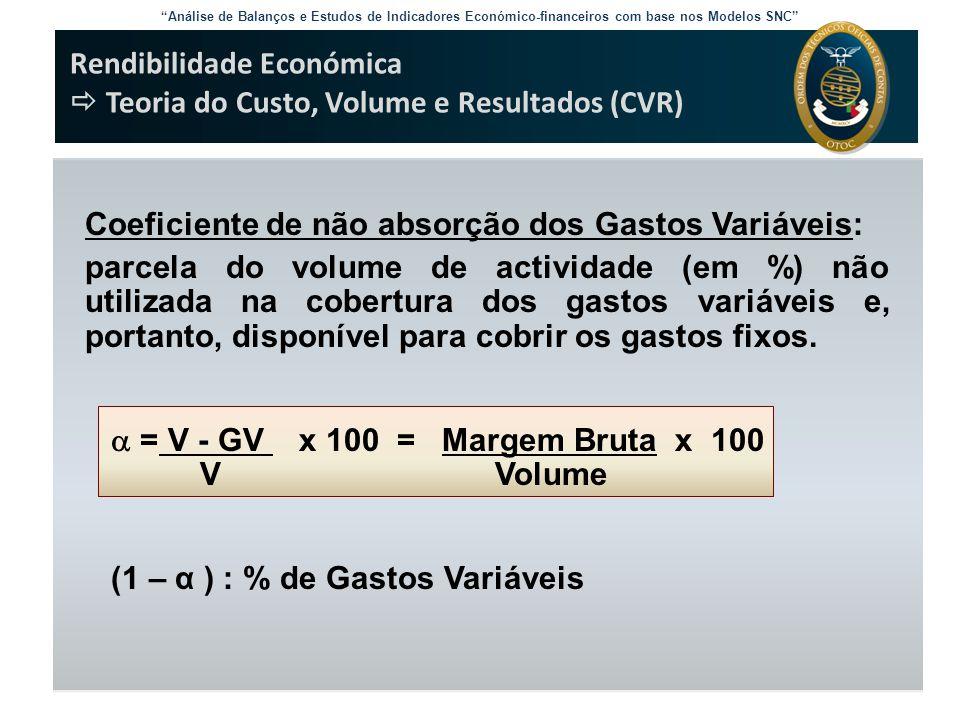 """""""Análise de Balanços e Estudos de Indicadores Económico-financeiros com base nos Modelos SNC"""" Rendibilidade Económica  Teoria do Custo, Volume e Resu"""