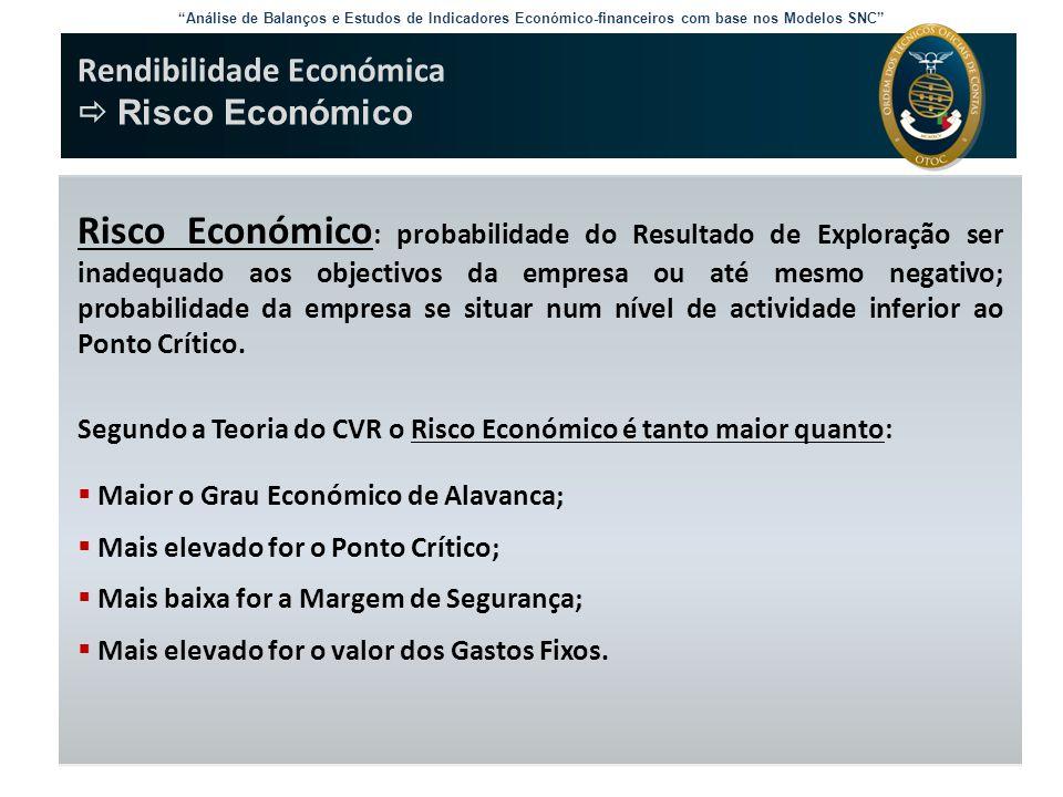 """Análise de Balanços e Estudos de Indicadores Económico-financeiros com base nos Modelos SNC"" Rendibilidade Económica  Risco Económico Risco Económic"