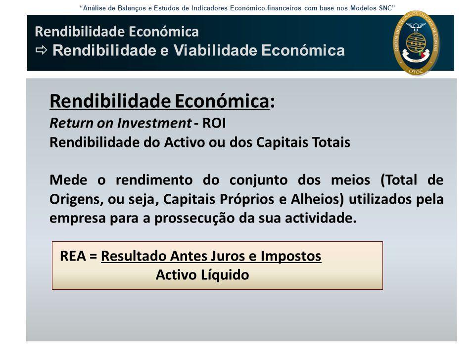 """""""Análise de Balanços e Estudos de Indicadores Económico-financeiros com base nos Modelos SNC"""" Rendibilidade Económica  Rendibilidade e Viabilidade Ec"""