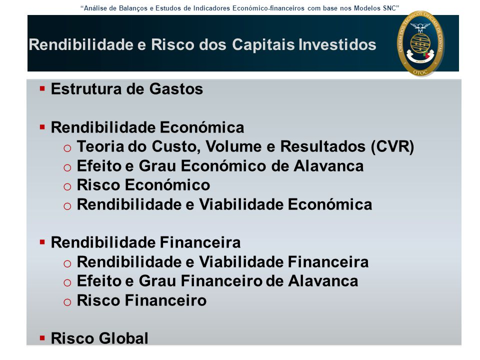 """Análise de Balanços e Estudos de Indicadores Económico-financeiros com base nos Modelos SNC"" Rendibilidade e Risco dos Capitais Investidos  Estrutur"
