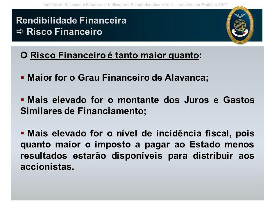 """""""Análise de Balanços e Estudos de Indicadores Económico-financeiros com base nos Modelos SNC"""" Rendibilidade Financeira  Risco Financeiro O Risco Fina"""