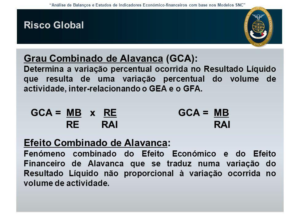 """""""Análise de Balanços e Estudos de Indicadores Económico-financeiros com base nos Modelos SNC"""" Risco Global Grau Combinado de Alavanca (GCA): Determina"""
